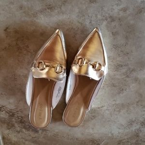 Rose gold pointed toe mule, size 5.5, boutique
